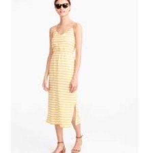 j crew carrie dress yellow stripe maxi/midi size 2